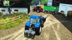 Kalk Rijden, International 1255 XL en laden met New Holland  T5.115 Trek...