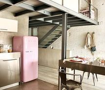 Did I mention the fridge? Seriously such a statement! Softens this industrial space.