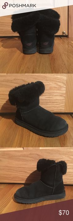 Black Bailey Button UGGS I bought these UGGS two years ago at the UGG store in MOA. I have worn them 5 times, they are in very good shape. I sprayed them before I wore them so they do not have any snow/ ice/ water/ salt damage. UGG Shoes Winter & Rain Boots