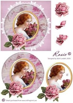 Rosie on Craftsuprint designed by Bodil Lundahl - This design is the third design in a serie of vintage girls and women from old post cards or magazines, which I have placed in a floral frame and on a white doily. To finish the image, I made 3D layers of a lovely, matching rose. The image is very feminine and can be used for any occation to a girl or a woman, young or less young. - Now available for download!
