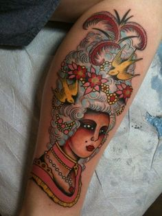 marie antoinette old school style tattoo