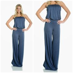 c10ce0a9671 Elan jumpsuit strapless denim blue palazzo flare leg heather knit s m l usa   78