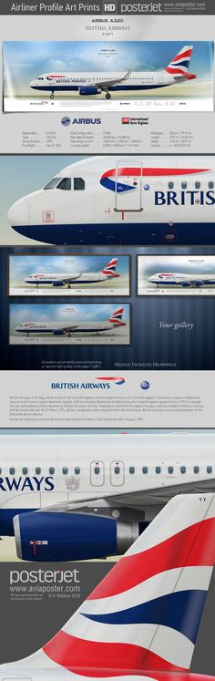 Airbus A320 British Airways | Airliner Profile Art Prints HD | www.aviaposter.com | #aviation #jetliner #airplane #pilot #aviationlovers #avgeek #jet #airport #pilotlife #cabincrew