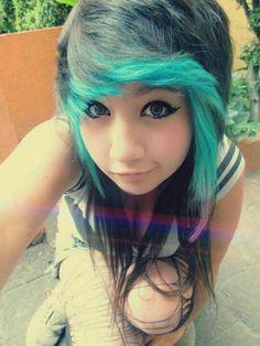 Black and blue hair.