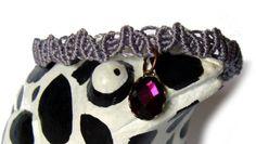 * Flechtarmbändchen mit Spiegelglascabochon * von crochet.jewels auf DaWanda.com