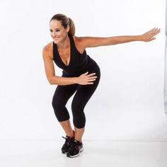 Bend knees and push hips back, tapping right foot lightly on the floor, swinging arms to the left in front of body.