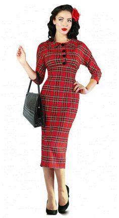 "f298faa52e ""Wilma Wallace"" 50 s Vintage Tartan Pencil Dress. """
