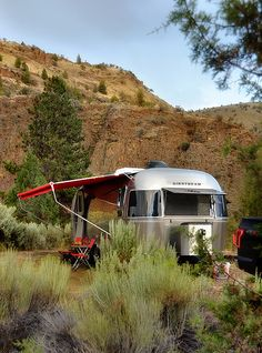 Airstream with awning in canyon Airstream Living, Airstream Interior, Vintage Airstream, Vintage Travel Trailers, Vintage Campers, Airstream Sport, Bell Tent Camping, Camping Glamping, Outdoor Camping