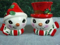 Vintage Salt and Pepper Shakers Snowman & by SallysVintageKitchen