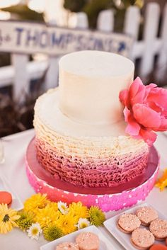 wedding cake, pink wedding cake, simple wedding cake