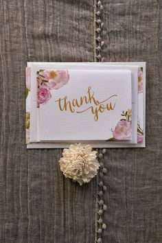 Part of the Spring Floral Wedding Suite, a stunning Thank You card featuring soft watercolour florals and sweeping calligraphy. Details: