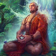 Meditation - Eternal TCG, Lucas Parolin on ArtStation at https://www.artstation.com/artwork/Ve0EP D&d Rpg, Fantasy Images, Fantasy Artwork, Fantasy Warrior, Fantasy Rpg, Dark Fantasy, Dnd Characters, Fantasy Characters, Character Concept