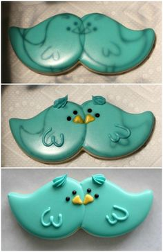 Blue bird cookies from a mustache cookie cutter Mustache Cookies, Bird Cookies, Fancy Cookies, Valentine Cookies, Cute Cookies, Easter Cookies, Royal Icing Cookies, Cupcake Cookies, Sugar Cookies