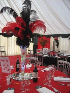 red and black casino table centerpiece