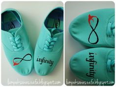 DIY mint sneakers trainers,  Hand-painted infinity symbol