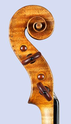 closeup, pegbox from the side, Images from The Rawlins Gallery Violin by Andrea Amati, Cremona, 1574