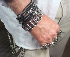 "Mens Biker Motorcycle Chain Black and Silver Bracelet 1"" Wide 9 ..."