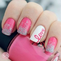 Pretty love pink sparkly nails