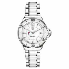 """Penn Women's TAG Heuer Formula 1 Ceramic Watch by TAG Heuer. $2195.00. Classic American style by M.LaHart. Officially licensed by the US Merchant Marine Academy. University of Pennsylvania TAG Heuer women's Formula 1 ceramic watch with Pennsylvania logo and """"Penn"""". Stunning white ceramic bezel with matching bracelet.Larger sized, polished steel case (37mm diameter). Fashionable white ceramic rotating bezel. Stainless steel and ceramic bracelet with push-button dep..."""