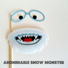 Photo booth prop Abominable Snowman on a stick by KittyDuneCuts