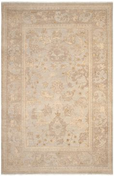 Oushak Rug in Beige and Silver