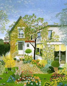 French used to have this and another hanging in my kitchen in my first apt.also in many of James and my kitchens over the years! Art And Illustration, Illustrations, Cottage Art, Guache, Naive Art, French Artists, Cute Art, Garden Art, Painting & Drawing