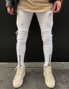 43a2f15c43 White Zipper Pants Looks Masculino