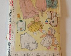 1950's Simplicity Sewing Pattern 1443 Infant Baby Dress w/Panties, Layette, & Hat w/Transfers One Size-  uncut- vintage infant pattern, baby