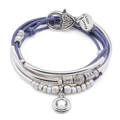 Ellie leather wrap bracelet necklace with clear crystal charm, shown in gloss light violet leather, comes as shown