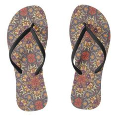 Colorful abstract ethnic floral mandala pattern flip flops - floral style flower flowers stylish diy personalize
