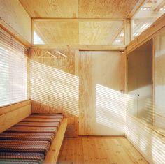 Plywood walls, upper windows