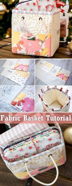 DIY Handmade Storage Fabric Basket Tutorial  http://www.handmadiya.com/2017/05/mini-basket-tutorial.html