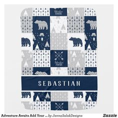 Adventure Awaits Add Your Name Blue Grey White Baby Blanket Grey And White, Blue Grey, Tribal Arrows, Soft Baby Blankets, Consumer Products, Adventure Awaits, Baby Design, Cool Patterns, Kids Gifts
