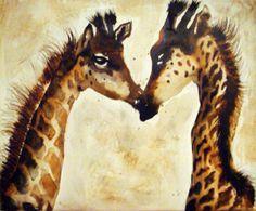 Φ Girafes, encre sur toile - portraits Animaux Encre de Chine  - le baiser