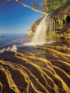 Pictured Rocks Waterfall Waterfall in Pictured Rocks National Lakeshore, Michigan near Miner's Beach