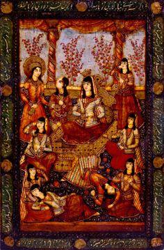 qajar  miniature Dance Paintings, Iranian Art, Islamic Art Calligraphy, Illuminated Letters, Dance Photography, Old Art, Female Art, Art History, Contemporary Art