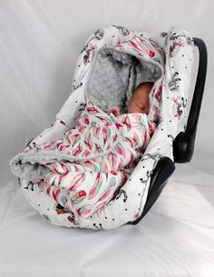 Car Seat Blanket infant Handmade CarSeat  Swaddle Travel wrap