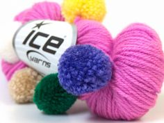 pink baby yarn with pompoms fine sport ice yarns usa bonbon orchid lilac 50 gr 1 skein ships from usa  100% acrylic size 4mm. 3.50$ via Etsy.