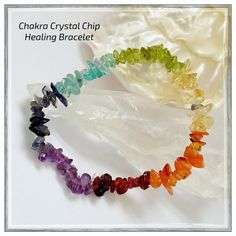 "✨Chakra Crystal Chip Healing Bracelet✨ ✨Chakra Is The Sanskrit Word For ""Spinning Wheel"" And Are Circles Or Vortexes Of Energy Which Balance, Store And Distribute The Life Force Throughout Our Bodies✨Positive And Loving Thoughts And Feelings Towards Ourselves And Others Along With A Healthy And Grounded Lifestyle Enable The Chakras To Function Properly✨Amethyst, Sapphire, Blue Topaz,Peridot, Citrine,Carnelian And Garnet Are The Crystal Chips Used In This Bracelet To Represent The 7…"