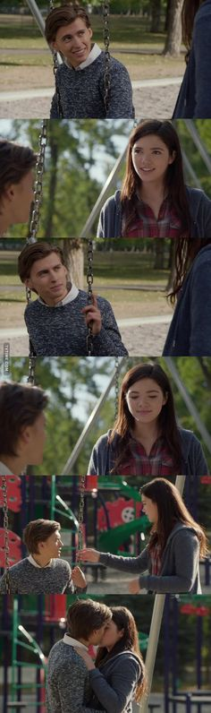Georgie: So, you were right about Dylan. He's riding Flame now. Wyatt: Oh, I'm sorry, but I'm not surprised. Georgie: I'm gonna ride Phoenix in the Fall Finale. Wyatt: That's great! Yeah is that why you wanted to meet me? You wanted to tell me that stuff? Georgie: No, I wanted to say that I had a really great time yesterday. The ride was amazing, I'm glad that you get me. Wyatt: Yeah, I had a lot of fun, too. I always do when we hang out. Georgie: Me too. I also came here to do this. (11x12)