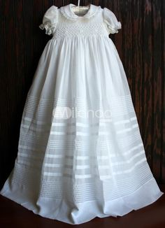 White Lace Short Sleeves Cotton Christening Gown. http://www.ourgreatshop.com/Christening-Dresses-C909.aspx