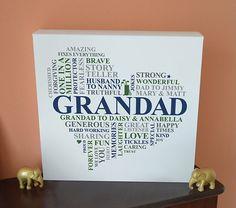 Canvas Grandad Print. Grandparent gift. Personalised word art cloud. Grandpa, Gramps, Pops, Papa. Heart present