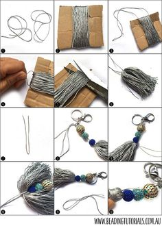 Step-By-Step Beaded Tassel Bag Charms Purse charms Bead Crafts, Jewelry Crafts, Handmade Jewelry, Charm Jewelry, Diy Keychain, Tassel Keychain, Diy Tassel, Tassels, Diy Bag Charm