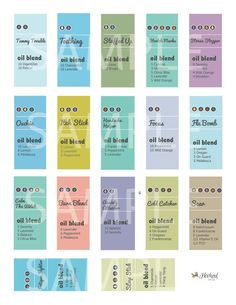 a super easy way to get started using essential oils- roller bottle recipes & labels in one! 17 different recipes and labels for and Roller Bottles. So easy! Doterra Oils, Doterra Essential Oils, Natural Essential Oils, Essential Oil Blends, Doterra Blends, Young Living, Roller Bottle Recipes, Mac Cosmetics, Living Oils