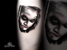 black and grey tattoo portrait tattoo jocker tattoo heath ledger