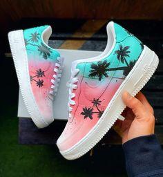 tiffany blue to pink shell florida sunset custom Cute Nike Shoes, Cute Sneakers, Nike Custom Shoes, Custom Made Shoes, Jordan Shoes Girls, Girls Shoes, Cool Shoes For Girls, Ladies Shoes, Shoes Women