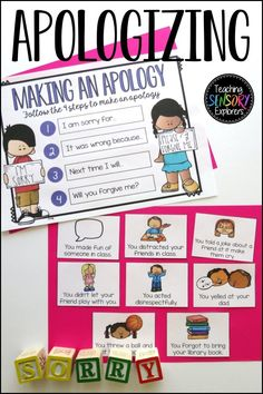 Apologizing: Social Skills Worksheets, Activity and Social Narrative Teaching Emotions, Autism Teaching, Teaching Resources, How To Apologize, Social Skills, Life Skills, Special Education, Early Childhood, Prompts