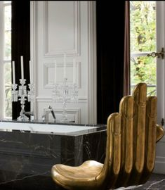 Splendor in the Bath: an ultra glam master by interior designer Lenny Kravitz.