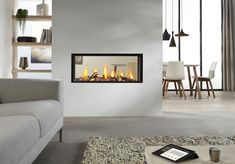 Image result for see through gas fireplace ideas