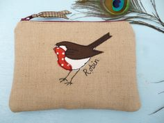 Handmade Robin applique embroidered motif purse or small cosmetic makeup bag pouch Biscuit Natural Linen, Lined, Christmas Xmas gift
